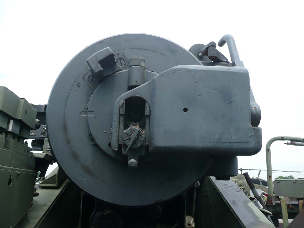 M110A2 breech in the closed position, ready for inserting the primer.  Except this is a museum gun...