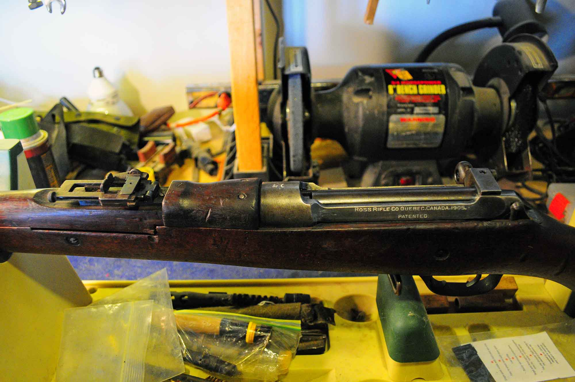 Ross M1905 receiver with the bolt stop standing proud thanks to it's ball point pen donor.