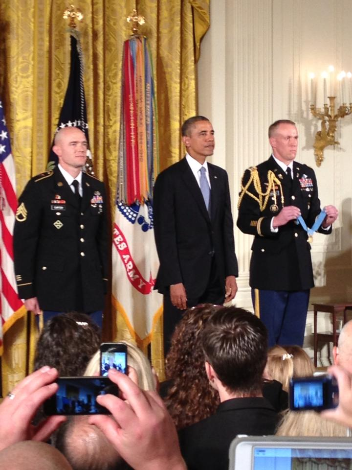 Staff Sergeant Ty Carter receives his Medal of Honor.  Photo courtesy Mark Seavey.