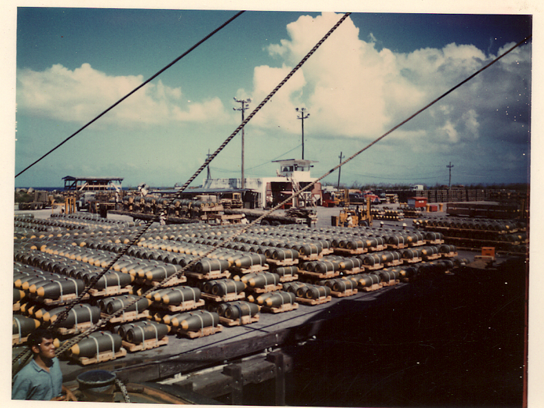 The bomb pier at Apra harbor, Guam, during the Linebacker II raids on Vietnam.