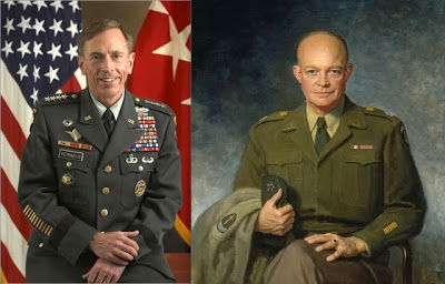 A modern US general on the right.  A not so modern one on the left.  Admittedly, Patton was a popinjay...