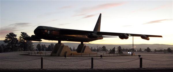 """The B-52 Stratofortress bomber known as """"Diamond Lil"""" sits near the north entrance of the U.S. Air Force Academy in Colorado Springs, Colo., Dec. 23, 2010. Diamond Lil's tail gunner, Air Force Airman 1st Class Albert Moore, shot down a North Vietnamese MiG fighter aircraft Dec. 24, 1972. Diamond Lil came to the academy after it was decommissioned in 1983. U.S. Air Force photo by Staff Sgt. Don Branum"""